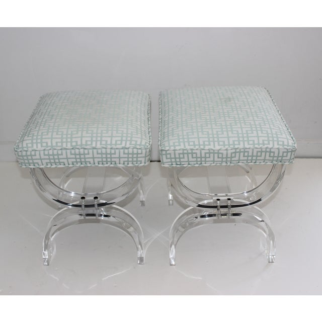 1970s Hollis Jones Style Lucite U Benches Stools 1940s - Newly Upholstered - a Pair For Sale - Image 5 of 12