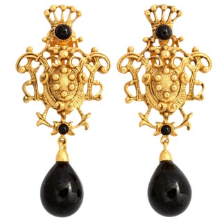 Goldtone Crest Drop Earrings For Sale