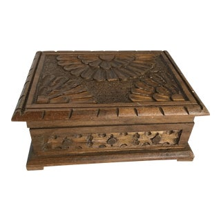Boho Rustic Wood Carved Box