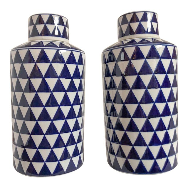 Geometric Ginger Jars, Pair For Sale - Image 4 of 4