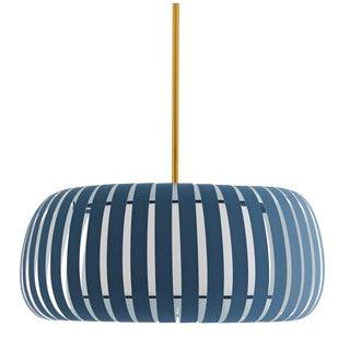 Arteriors Contemporary Blue Fabric Wilson Pendant Light For Sale