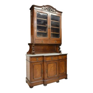 19th Century Antique French Louis Philippe Mahogany Marble Top Sideboard For Sale