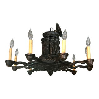 Spanish Bronze French Chandelier DepictingHarvest of the Grapes For Sale