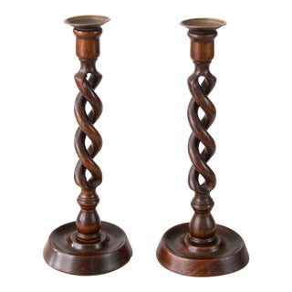 Tall Antique English Open Barley Twist Candlesticks - a Pair For Sale