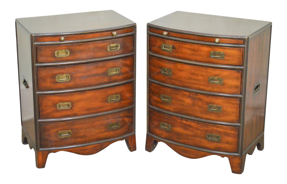 Ordinaire Campaign Style Pair Of Mahogany Bow Front Chests Nightstands By Theo.  Alexander