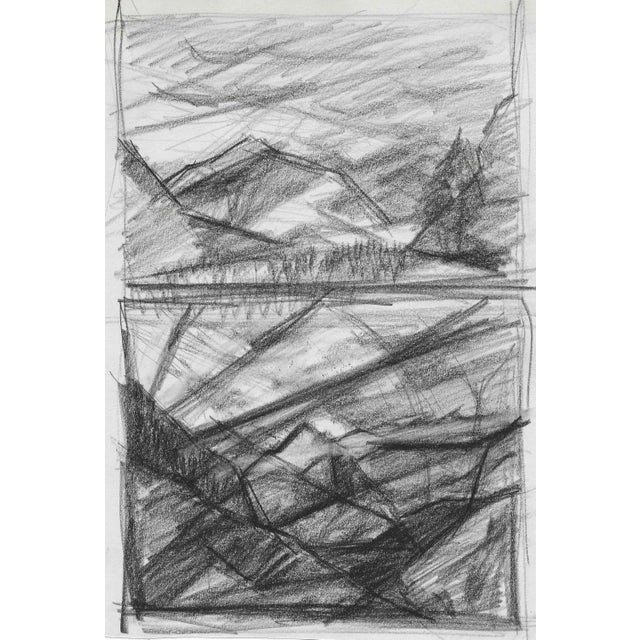 Mid-Century Modern 1950s Mountain Double Drawing For Sale - Image 3 of 3
