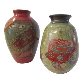 Spanish Pottery Vases - a Pair For Sale