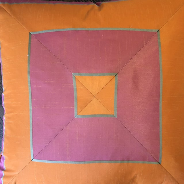 """Traditional Bright Pink and Tangerine Silk Mitered Stripe 22"""" Pillows-A Pair For Sale - Image 3 of 6"""