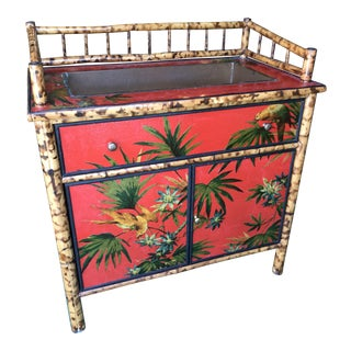 Palm Beach Regency Tropical Tortoise Rattan and Decoupaged Cabinet For Sale