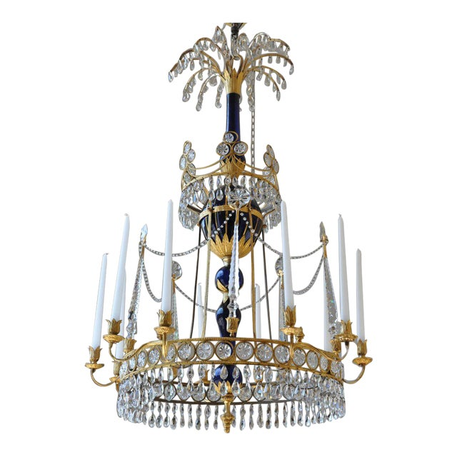 Period Early 19th Century Russian Neoclassical Cobalt and Ormolu Chandelier For Sale