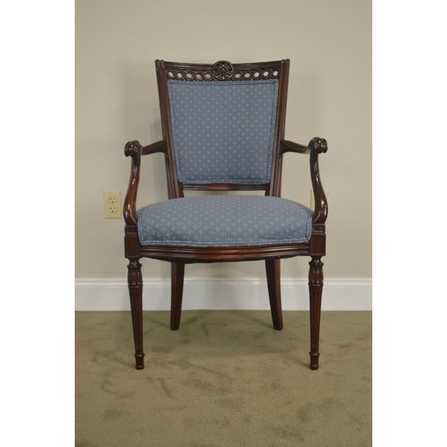 Hollywood Regency Regency Style Vintage Pair of Carved Mahogany Blue Upholstered Arm Chairs For Sale - Image 3 of 13