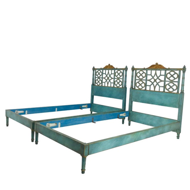 Pair of Twin Chinoiserie Pagoda Beds by Kittinger For Sale - Image 12 of 12