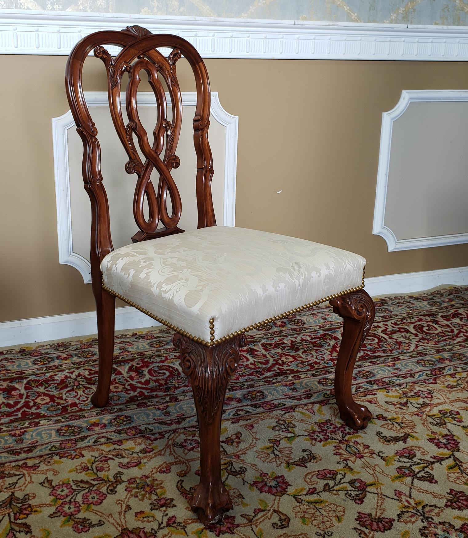 High Top Tier Karges Furniture Mahogany Chippendale Dining Room Chairs   Set  Of 8 For Sale