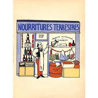 Paris Storefront, French Lithograph, Nourritures Terrestres, 1925, Matted For Sale
