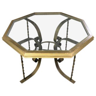 Hollywood Regency Wrought Iron Dining Table with Octagon Gilded Wood Rimmed Glass Top For Sale