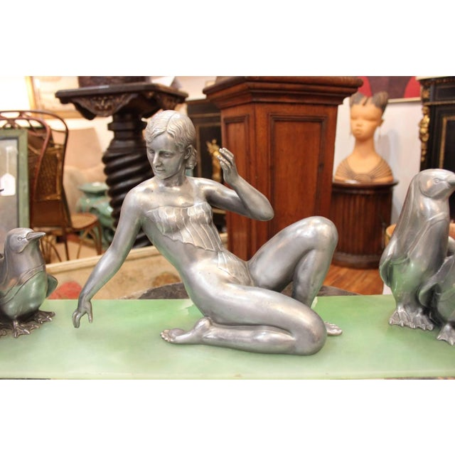 1930s Art Deco Cast Aluminum Sculpture on Marble of Female Dancer and Penguins For Sale - Image 4 of 6