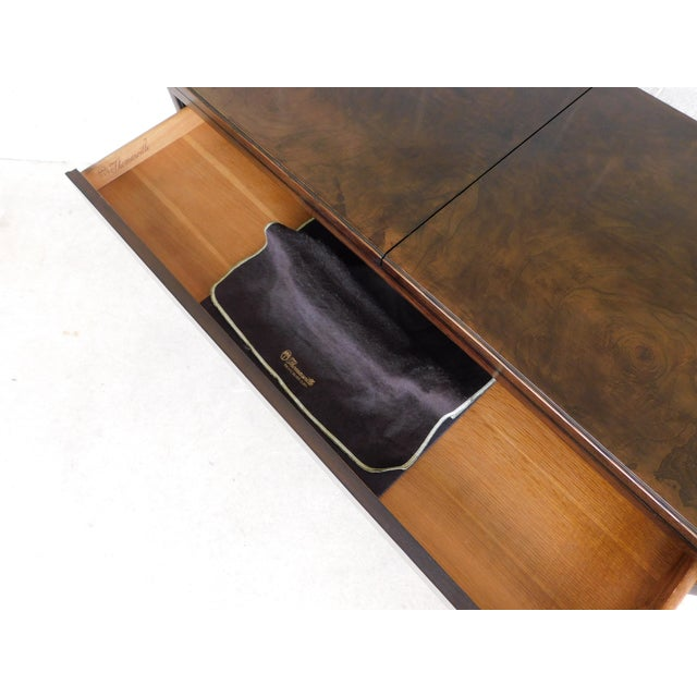 Metal Thomasville Campaign Style Burl Walnut Flip Top Rolling Server For Sale - Image 7 of 12