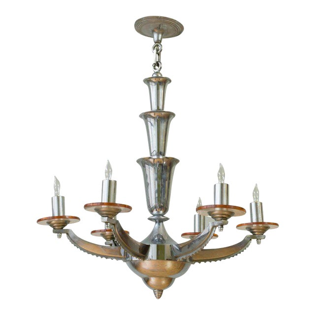 French Deco Chrome-Plated Chandelier by Petitot For Sale