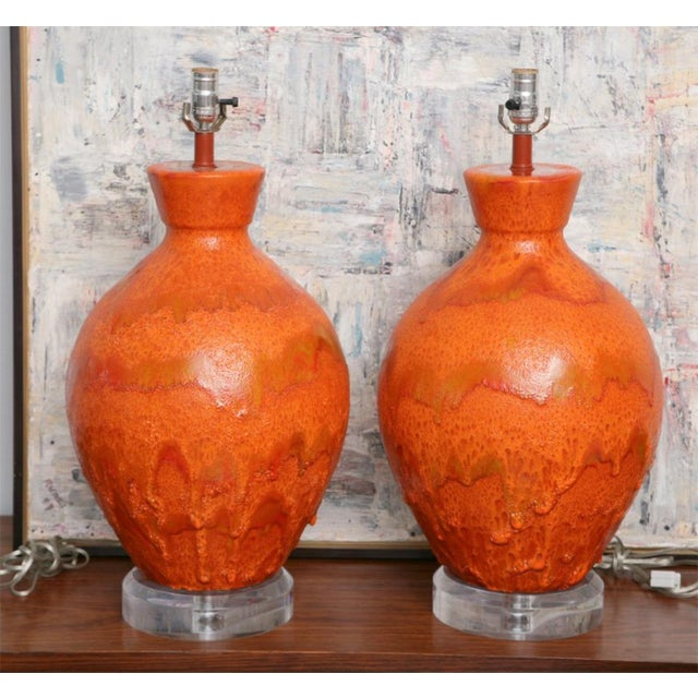 The vase form with highly mottled orange glaze on later Lucite bases- note 1st height includes shade.