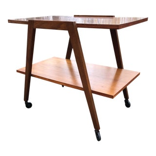 Mid Century Rolling Side Table For Sale