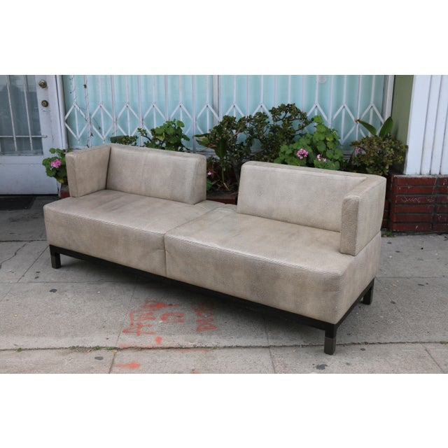 Contemporary Modern Contemporary Leather Love Seat For Sale - Image 3 of 11