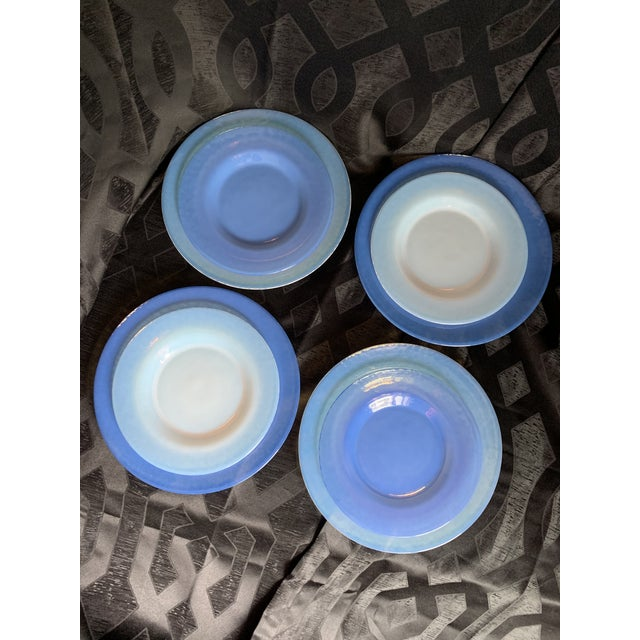 Cenedese Italian Murano Blue Translucent Opalescent Plate Settings - Set of 8 For Sale - Image 11 of 11