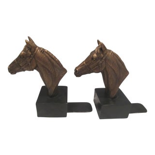 Vintage Mid Century Horse Bust Bookends- A Pair For Sale