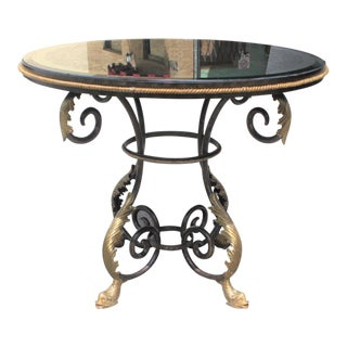 Neoclassical Iron Center Table Eglomise Mirror Top Dolphins Feet
