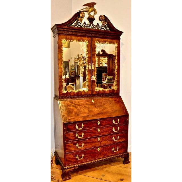Chippendale Period Chippendale Figured Mahogany Secretary Bookcase, circa 1765 For Sale - Image 3 of 8