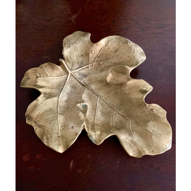 Gorgeous 1940s Virginia Metalcrafters solid brass footed fig leaf from the Oskar Hansen Botanical Series. Solid brass...