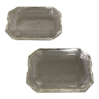 Contemporary Faceted Crystal Ashtrays - a Pair For Sale