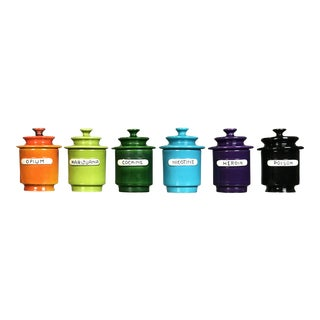 """Rare Set of 1960s Lidded Apothecary """"Dope Jars"""" by Alvino Bagni for Raymor For Sale"""