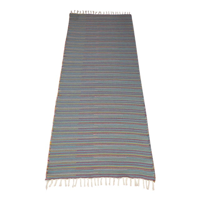 "Flat Weave Wool Striped Blue Kilim Rug - 2'8"" x 7'6"" - Image 1 of 10"