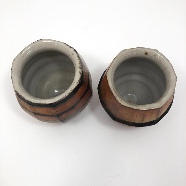 Late 20th Century Japanese Style Faceted Yunomi Studio Pottery Cups, Marked - a Pair For Sale - Image 5 of 13