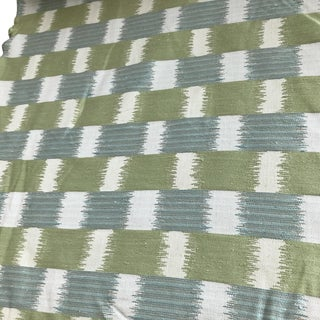 Tyler Hall Green Cream and Slate Blue Patterned Fabric - 30+ Yards Available For Sale