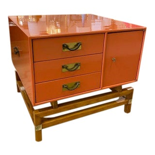 Hickory Furniture Company Orange Lacquer Side Table For Sale