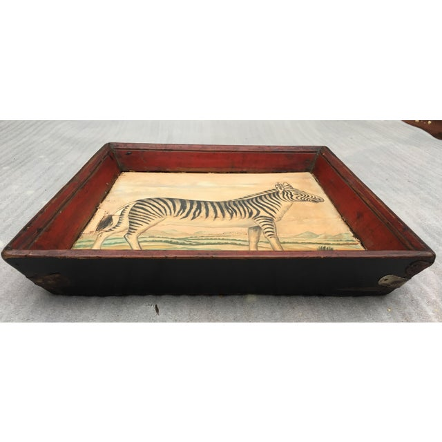 Antique Zebra Painted Wooden Tray For Sale In Los Angeles - Image 6 of 11