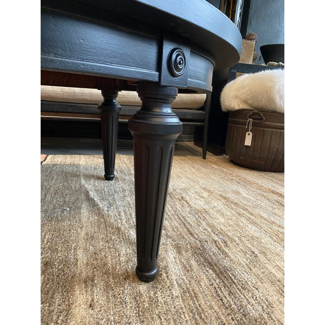 Hollywood Regency Black Coffee Table With an Antique Mirror Top For Sale - Image 4 of 9