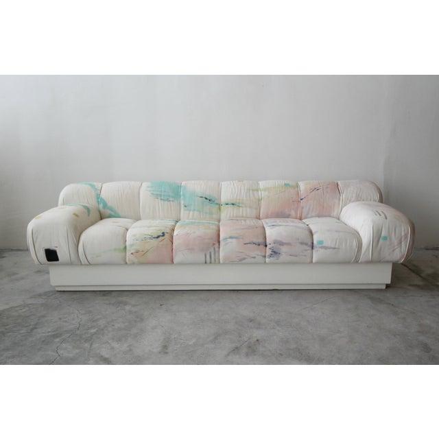 Mid-Century Modern Custom Oversized Post Modern Italian Sofa on Plinth Base For Sale - Image 3 of 9