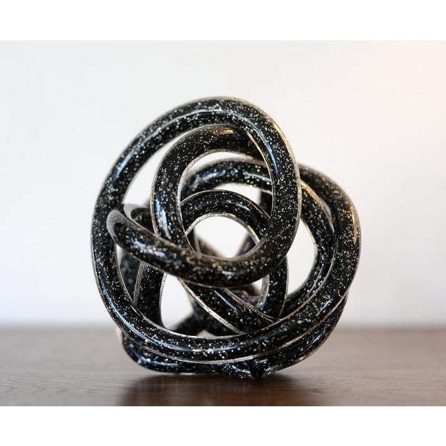 Vintage Black Murano Abstract Twisting Blown Glass Tube Sculpture For Sale - Image 9 of 10