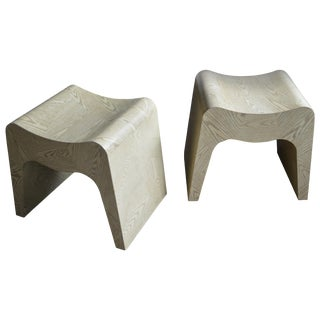Two of a Pair of 20th Century Cerused Plywood Curved Stools For Sale