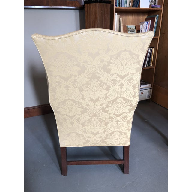 American American Federal Style Yellow Jacquard Wingback Chair With Down Cushion For Sale - Image 3 of 13