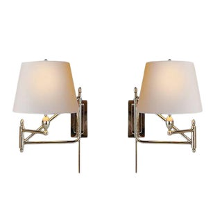 Thomas O'Brien Paulo Swingarm Polished Nickel Sconces With Shades - A Pair For Sale