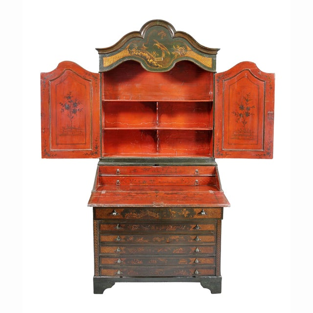 Late 18th Century Venetian Rococo Green Japanned Secretary Desk For Sale - Image 5 of 13