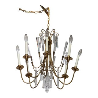 Tommi Parzinger Style Brass and Crystal Chandelier For Sale