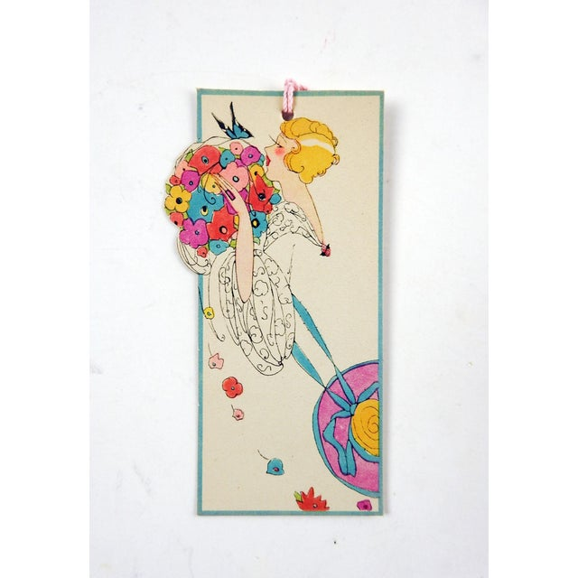 Vintage Art Deco Die Cut Lady Floral Butterfly Bridge Tally Cards - Set of 3 For Sale - Image 4 of 4
