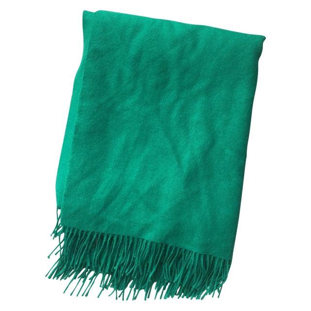 Emerald Green Alpaca Throw With Tassels - Image 1 of 5