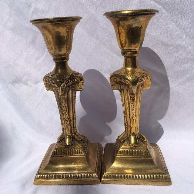 Gorgeous brass unique candlesticks in perfect condition, India import from the 60's. These are heavy with substantial...
