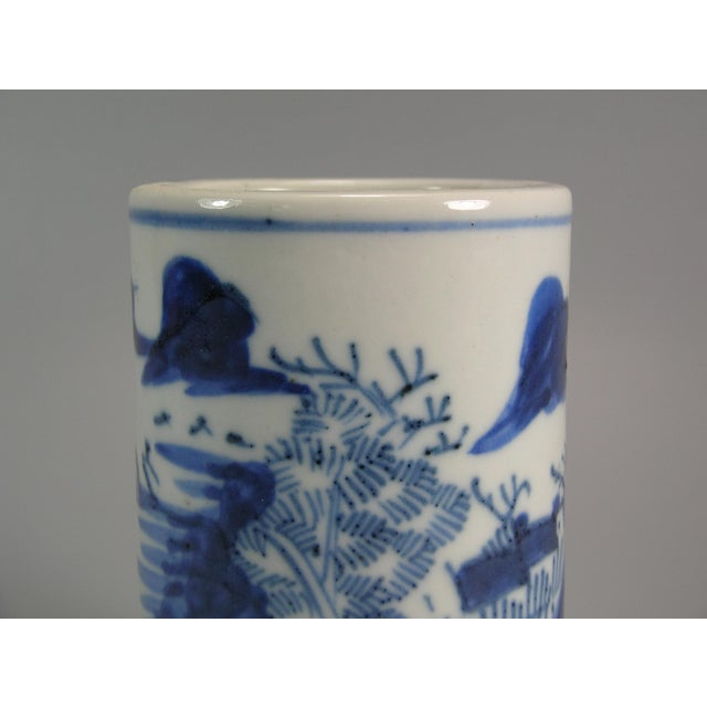 Asian Style 19th Century Chinese Small Blue and White Brush Pot/Bitong For Sale - Image 4 of 11