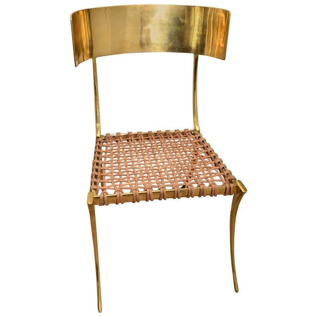 Scala Luxury Brass Leather Klismos Chair For Sale - Image 12 of 12